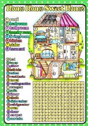 English Worksheet: Home Home Sweet Home! (B&W+KEY included)