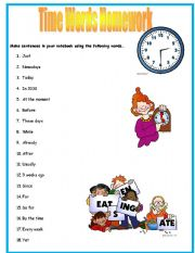 English Worksheet: Time Words Worksheet