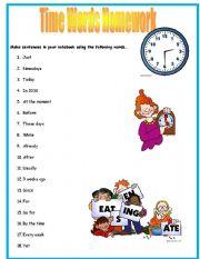 English Worksheet: Time Words Worksheet