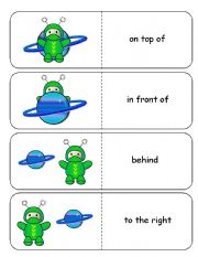 English Worksheets: Where is the Alien Astronaut Preposition Dominoes and Memory Cards Part 1 of  2