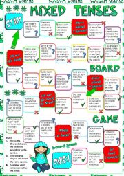 English Worksheet: Mixed tenses - BOARD GAME (greyscale included)