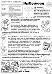 English Worksheet: HALLOWEEN origin history traditions and after-reading activities