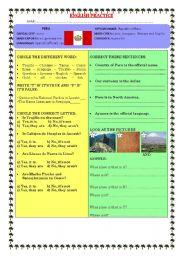 English Worksheet: TOURIST PLACES IN PERU