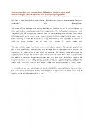 English Worksheets: a supremarket or a corner shop