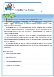 English Worksheet: my holidays in france
