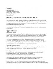 English Worksheets: Contact Lens Use and Misuse