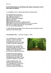 English Worksheet: The Road Not Taken by Robert Frost
