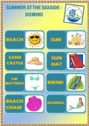 English Worksheet: Summer at the seaside - Domino - 20 pieces