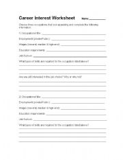 Printables Career Worksheet english worksheets career interest worksheet worksheet