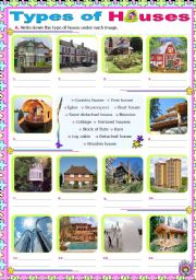 English Teaching Worksheets Types Of Houses - Type of house for kids