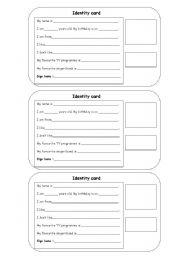 English Worksheets: Identity cards