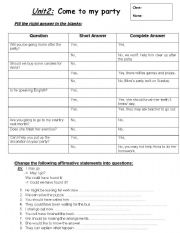 English Worksheets: yes/no question
