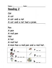 Phonics reading 2 - ESL worksheet by Clare Baldacchino
