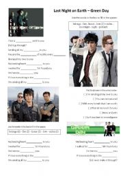 English Worksheet: Last Night on Earth - Green Day
