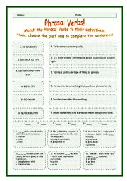 > Phrasal Verbs Practice 66! > --*-- Definitions + Exercise --*-- BW Included --*-- Fully Editable With Key!