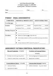 English Worksheets: Individual Presentations
