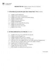 English Worksheet: Agatha Christie book quiz