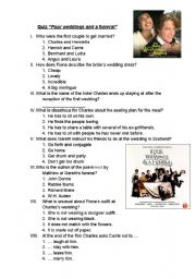 English Worksheet: Four weddings and a funeral- Film Quiz