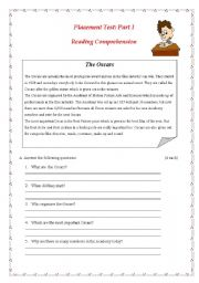 English Worksheet: Placement Test: Part I: Reading