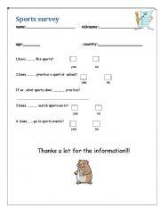 English worksheet: A Sport Survey!