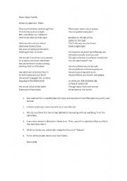 English Worksheet: Poem about family