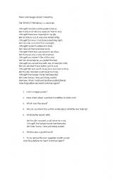 English Worksheet: Poem about friendship
