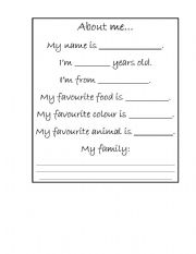 English Worksheets: About Me...