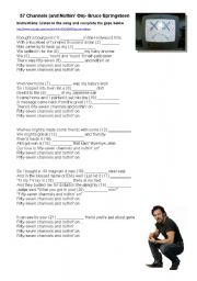 English Worksheets: Song: Bruce Springsteen- 57 channels and nothin�s on