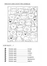English Worksheets: How many animals?