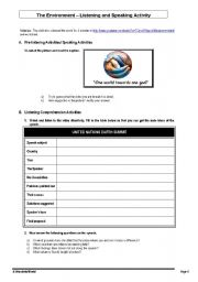English Worksheets: The Environment - Listening and Speaking Activities