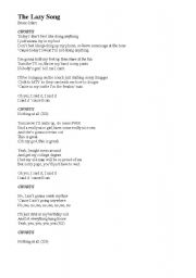 English Worksheet: Bruno Mars - The Lazy Song