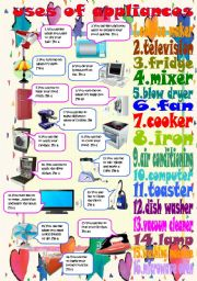 English Worksheets: uses of appliances