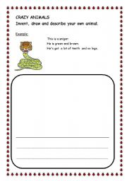 English Worksheets: Crazy animals
