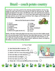 English Worksheet: Brazil - couch potato country