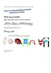 English Worksheets: reading comprehension on clothes
