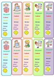 English Worksheet: classroom commands - bookmarks