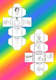 English Worksheets: Body parts Cube - part 1