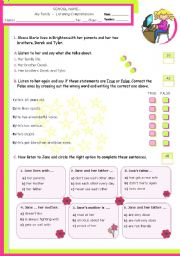 English Worksheet: My family  -  Listening comprehension