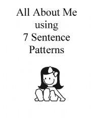 English Worksheet: Booklet About Me Using 7 Sentence Patterns (Girl)