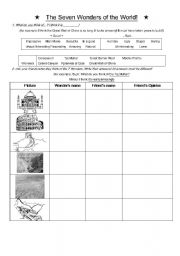 English Worksheet: 7 Wonders of the World Dialog Sheet