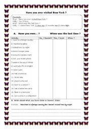 English Worksheets: Have you ever ...?  [EDITABLE]