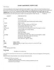 English Worksheets: supply list