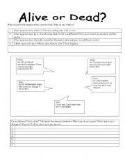 English Worksheets: alive or dead01