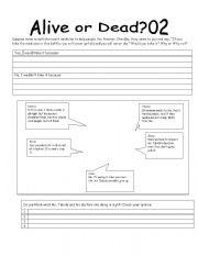 English Worksheets: alive or dead 02