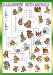 English Worksheet: ANIMALS - CROSSWORD - FOR BEGINNERS + KEY
