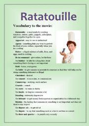 Ratatouille Movie Vocabulary