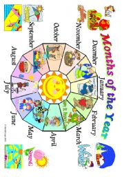 English Worksheet: Months of the Year: poster