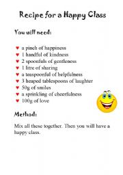 English Worksheet: Recipe for a happy class