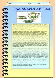 English Worksheet: The World of Tea