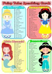 English Worksheet: Fairy Tales Speaking Cards